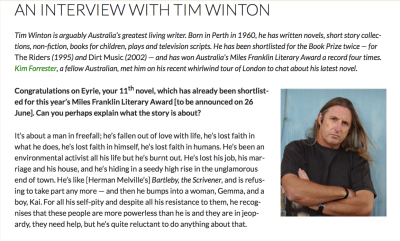 An interview with Tim Winton